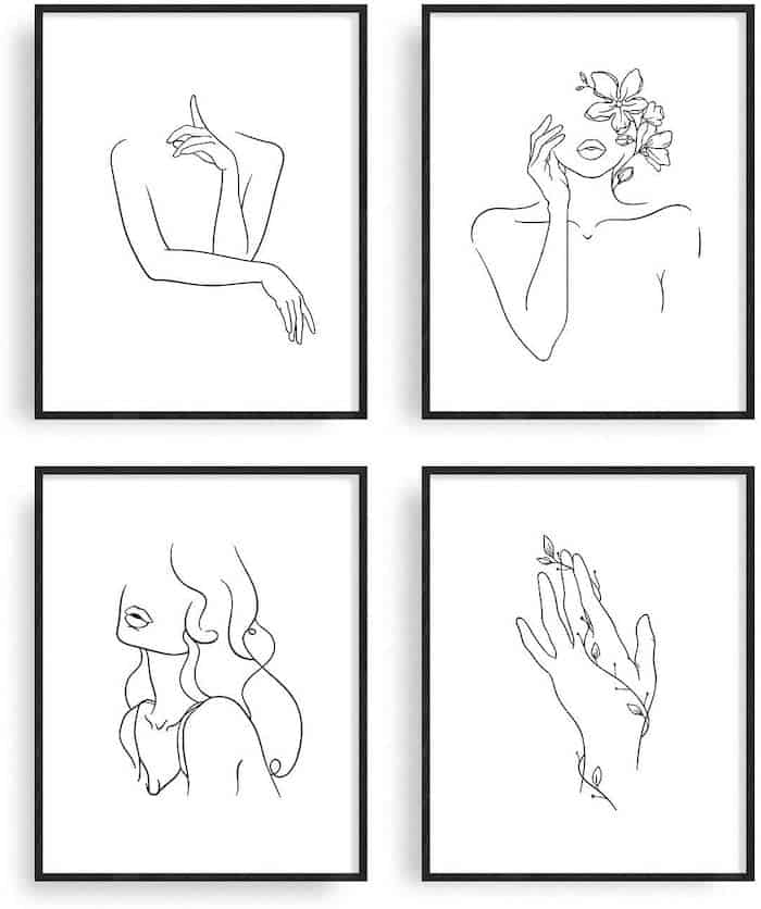 Simple Line Drawings of a Woman