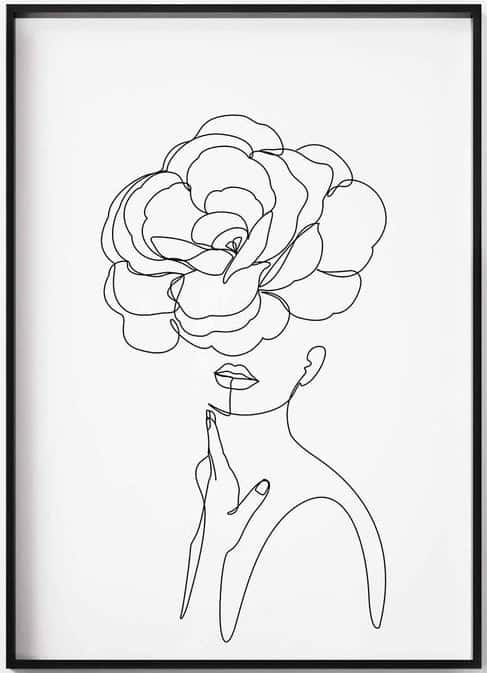 Line drawing of woman with flower over face