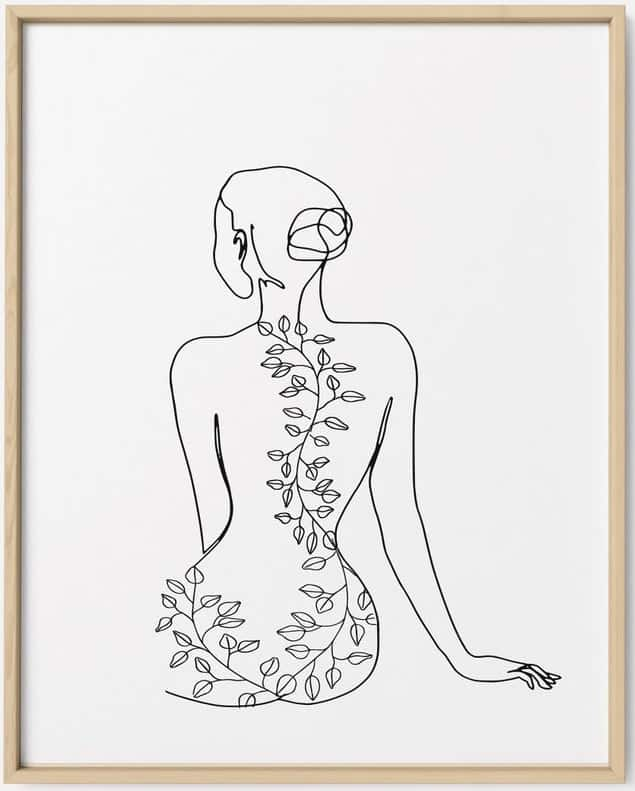 Nude Woman Line Drawing Wall Art.