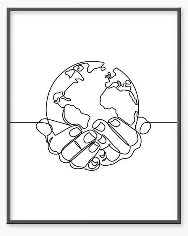 World in Hands Line Sketch