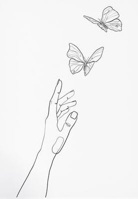 hand with butterflies simple art