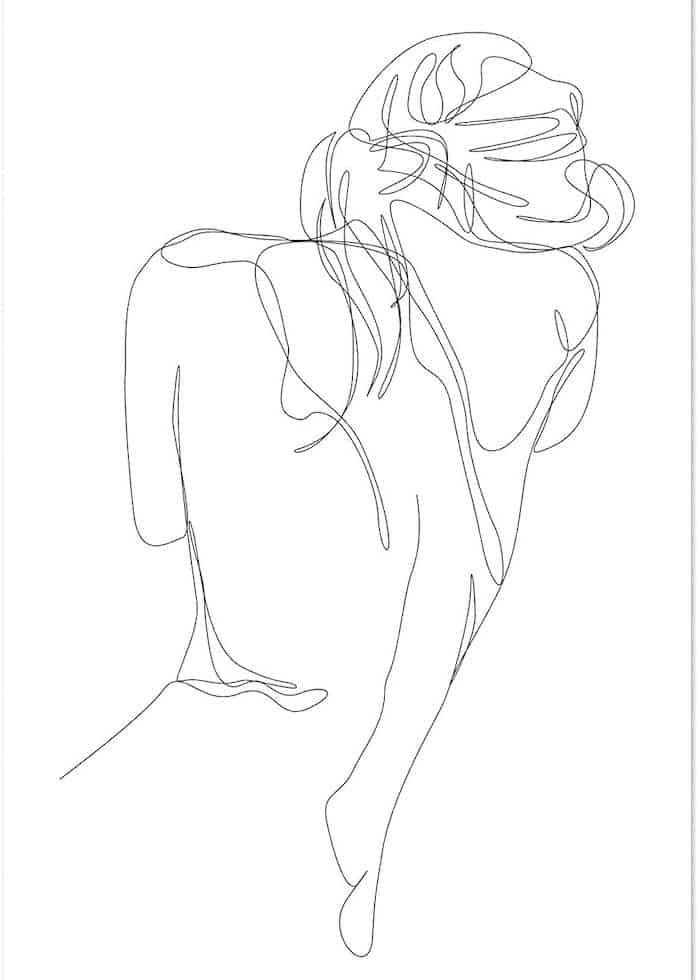 female figure back simple line drawing